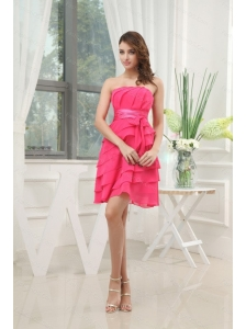 Coral Red Ruffled Layers Mini-length 2013 Dama Dress