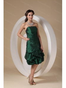 Dark Green Column Strapless Taffeta Beading Dama Dresses