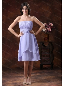 Discount Lilac Ruch Strapless Dama Dresses for Quinceanera