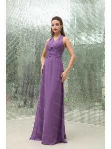 Empire Chiffon Purple V-neck Ruching Dama Dresses 2013