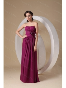 Fushsia Column Strapless Chiffon Hand Made Flower Dama Dresses 2013