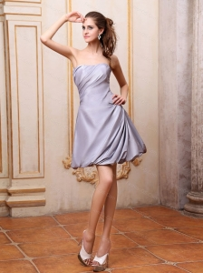 Grey A-line Strapless Mini-length Short Dama Dress