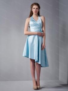 Halter High-low Blue Bow Dama Dress On Sale