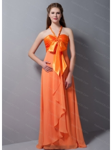 Halter Orange Chiffon Bow Beautiful Dama Dress 2013