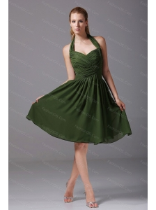 Halter Ruched Chiffon A-Line Olive Green Dama Dresses 2013