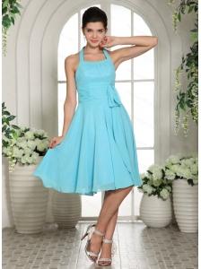 Halter Sash Chiffon Aqua Blue Dama Dress 2013