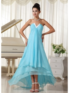 High-low Chiffon Baby Blue 2013 Dama Dress On Sale