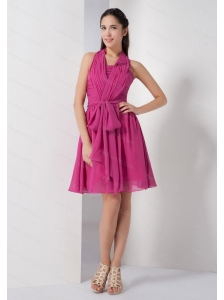 Hot Pink Ruch Sash Chiffon Dama Dress On Sale