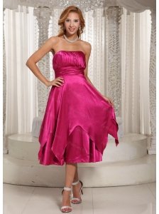 Hot Pink Ruched Tea-length 2013 Dama Dress On Sale