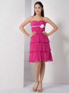 Hot Pink Sweetheart Knee-length Cheap Dama Dress