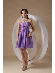 Lavender Strapless Taffeta Ruch Short Dama Dresses