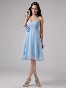 Light Blue Ruching Chiffon Sweetheart Dama Dress 2013