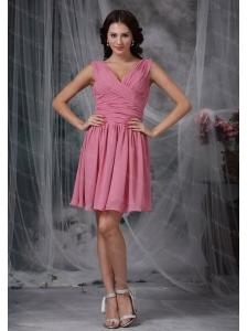 Light Pink Empire V-neck Chiffon Ruch Dama Dresses On Sale