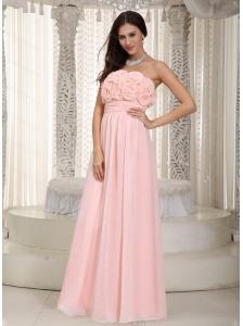 Long Baby Pink Empire Chiffon Hand Made Flowers Dama Dress