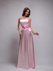Long Baby Pink Empire Strapless Sash Dama Dress