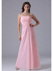 Long Baby Pink Ruched Simple Dama Dress On Sale