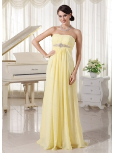 Long Light Yellow Chiffon Dama Dress For Summer