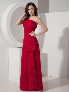 Long Red One Shoulder Chiffon Dama Dress