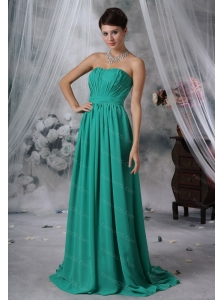 Long Ruched Strapless Turquoise Dama Dress For 2013