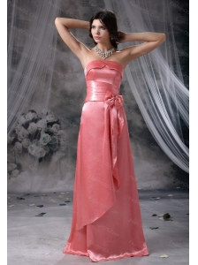 Long Strapless Taffeta Watermelon Red Dama Dress On Sale