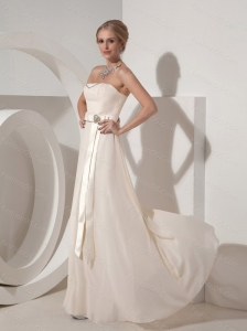 Long White Empire Strapless Beading Dama Dress On Sale