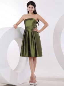 Olive Green Strapless Knee-length Short Dama Dress