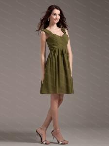 Olive Green Straps Chiffon Short Dama Dress