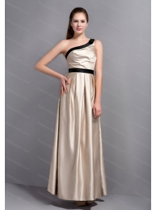 One Shoulder Champagne Satin Dama Dress On Sale