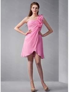 One Shoulder Hand Made Flower Rose Pink Dama Dress