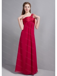 One Shoulder Wine Red Chiffon Dama Dress
