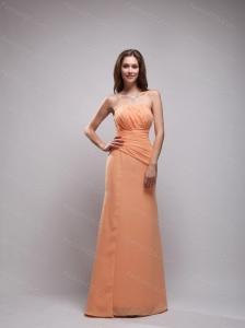 Orange Column Strapless Ruch Dama Dress