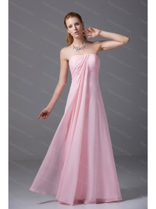Pink Strapless Chiffon Ruched Empire Dama Dresses