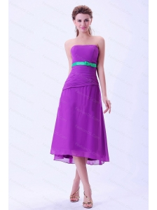 Purple Chiffon Short Strapless 2013 Dama Dresses