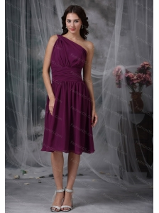 Purple Short Empire One Shoulder Chiffon Ruch Dama Dresses