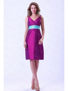 Purple V-neck Taffeta Short 2013 Dama Dresses