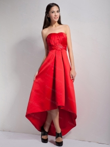 Red High-low Satin Belt Dama Dress On Sale