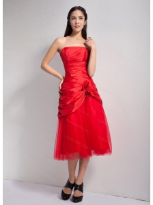 Red Strapless Tea-length Dama Dress 2013