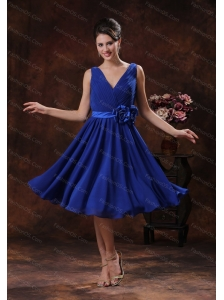 Roral Blue Hand Made Flower Ruch Dama Dresses