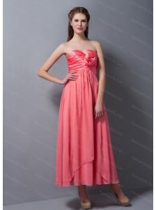 Rose Pink Chiffon Steapless Ankle-length Dama Dress