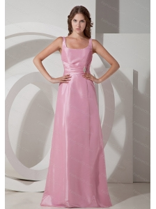 Rose Pink Square Floor-length Discount Dama Dress