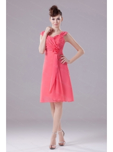 Ruching Hand Made Flower Straps Chiffon Watermelon Dama Dresses 2013