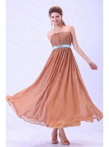 Rust Red Ruching Chiffon Long Dama Dresses On Sale
