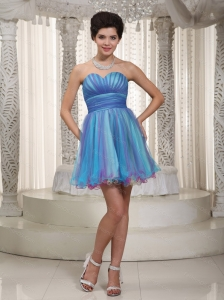 Short Aqua A-line / Princess Sweetheart Ruch Dama Dress