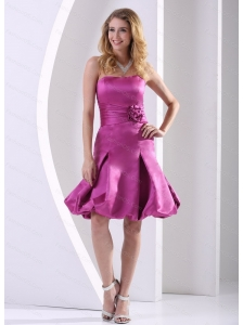 Short Fuchsia A-line Strapless Sash Dama Dresses On Sale
