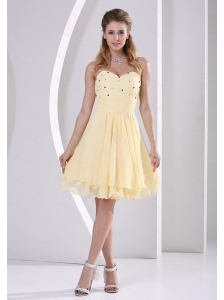 Short Light Yellow Sweetheart Dama Dresses for Quinceanera