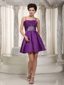 Short Purple Pricess Straps Beading Dama Dresses for Quinceanera
