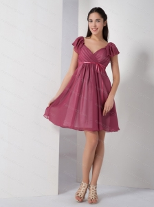 Short Sleeves V-neck Sash Cheap Dama Dress 2013