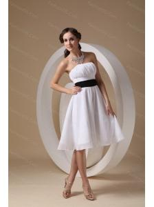 Short Strapless Chiffon White Sash Dama Dresses 2013