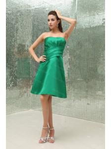 Strapless A-Line Taffeta Green Dama Dresses 2013