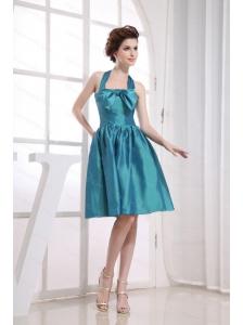 Teal Halter Bowknot Discount Dama Dress
